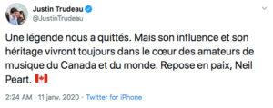 PEART Twit Justin Trudeau