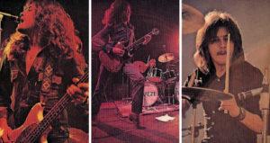 Trapeze fin 1970 : Glenn Hughes au chant et à la basse, Mel Galley à la guitare et David Holland à la batterie.